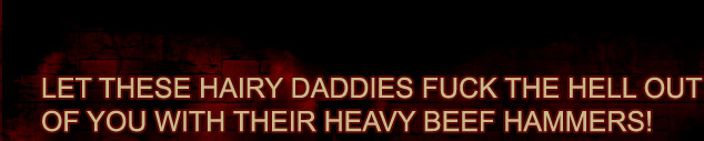 Let these hairy daddies fuck the hell out of you with their heavy beef hammers!